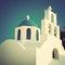 Stock Image : Greek orthodox church in Santorini. Vintage style.
