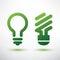 Stock Image : Green bulb icons set