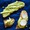 Stock Image : Green peas and chickpeas hummus