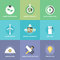 Stock Image : Green technology and innovations flat icons set