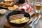 Stock Image : Grilled sausages with French fries, toast and beer