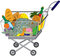 Stock Image : Grocery store shopping cart with food items and fish