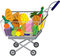 Stock Image : Grocery store shopping cart with food items
