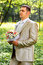 Stock Image : Groom holding a wedding bouquet