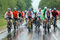 Stock Image : A group of cyclist racer racing  in the rain