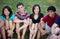 Stock Image : Group of Multi-ethnic happy teenagers outside