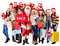 Stock Image : Group people and  Santa.
