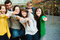 Stock Image : Group of Students Outside pointing