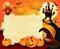 Stock Image :  Halloween-achtergrond met teken, in sinaasappel