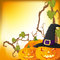 Stock Image : Halloween autumn background with three pumpkins,