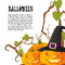 Stock Image : Halloween autumn background with three pumpkins isoalted on whit