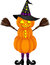 Stock Image : Halloween pumpkin doll with witch hat