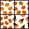 Stock Image : Halloween pumpkins seamless pattern set