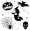 Stock Image : Halloween silhouette set on white background