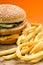 Stock Image : Hamburger and French Fries Closeup