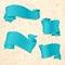 Stock Image : Hand drawn blue ribbons
