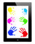 Stock Image : Hand prints on iPad