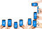 Stock Image : Hands and mobile phones, frame