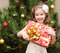 Stock Image : Happy adorable little girl with gift
