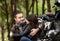 Stock Image : Happy bikers resting