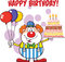 Happy Birthday With Clown Cartoon Character With Balloons And Cake With Candles