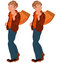 Stock Image : Happy cartoon man standing with bag over shoulder