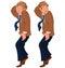 Stock Image : Happy cartoon man standing on tiptoe in brown jacket and tie