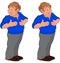 Stock Image : Happy cartoon man walking in blue polo shirt touching stomach