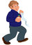Stock Image : Happy cartoon man walking and holding first aid
