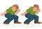 Stock Image : Happy cartoon man walking and holding something
