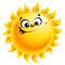 Stock Image : Happy cartoon yellow sun character smiling