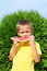 Stock Image : Happy child eating watermelon