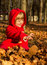 Stock Image : Happy child is sitting in the autumn leaves