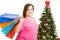 Stock Image : Happy Christmas Shopper