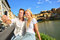 Stock Image : Happy couple selfie photo on travel in Florence