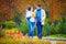 Stock Image : Happy couple walking in autumn park