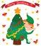 Stock Image : Happy Elf with Christmas Tree