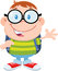 Stock Image : Happy Geek Boy Waving Flat Design