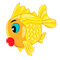 Stock Image : Happy goldfish cartoon character