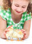 Stock Image : Happy little girl with chickens