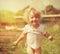Stock Image : Happy little girl in summer sunlight