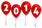 Stock Image : Year 2014 Red Balloons