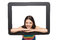Stock Image : Happy young woman peeping out of tablet frame