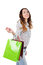 Stock Image : Happy young women with shopping bags