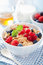 Stock Image : Healthy breakfast with cornflakes and berry