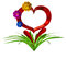 Stock Image : Heart with flowers and leaves