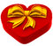 Stock Image : Heart shaped box with golden bow for gift