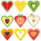 Stock Image : Heart Shaped Healthy Fruit Halves Collection