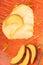 Stock Image : Heart shaped peach bavarian cream (bavarese)