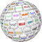 Stock Image : Hello Sphere Word Tiles Global Languages Cultures